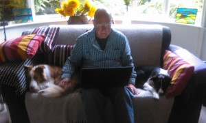 writing and two pups