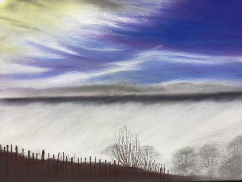 Mrs Summerhouse's art : A misty morning at the vineyard